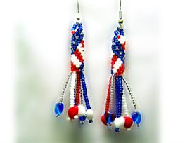 Stars and Stripes Earring Pattern with Fringe | eBooks | Arts and Crafts