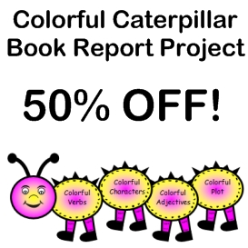 50% off colorful caterpillar book report