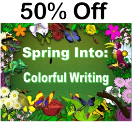 50% off spring into colorful writing powerpoint