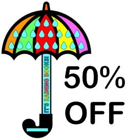 50% off it's raining books sticker chart