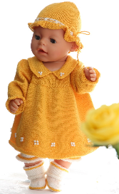 dollknittingpatterns - 0090d hanne - dress, pants, hat and socks
