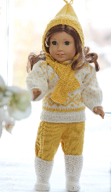 dollknittingpatterns - 0091d astrid - sweater, ski pants, bonnet, scarf and knee socks