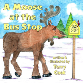 a moose at the bus stop