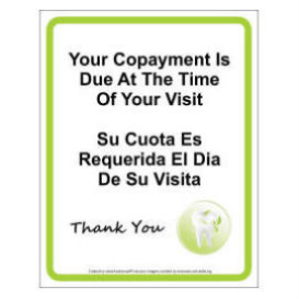 dentist copayment sign
