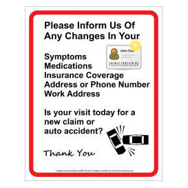 doctor patient information wall sign