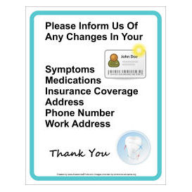 dentist office patient information wall sign