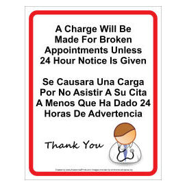 doctor office missed appointment wall sign