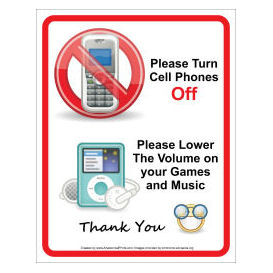 please turn off cell phones office sign