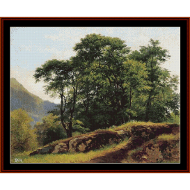 beech forest in switzerland - shishkin cross stitch pattern by cross stitch collectibles