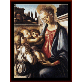 madonna & child with two angels - botticelli cross stitch pattern by cross stitch collectibles
