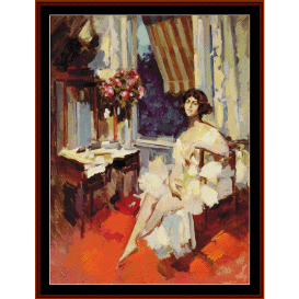 ballerina in boudoir - lautrec cross stitch pattern by cross stitch collectibles
