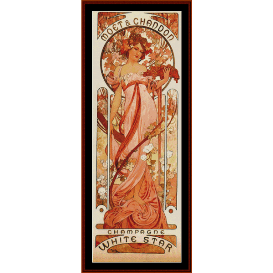 moet & chandon, white star - mucha cross stitch pattern by cross stitch collectibles