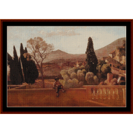 gardens of the villa at tivoli - correggio cross stitch pattern by cross stitch collectibles
