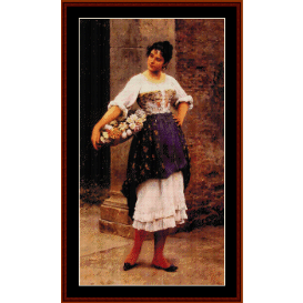 venetian flower seller - alma tadema cross stitch pattern by cross stitch collectibles