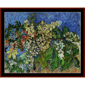 blossoming chestnut branches - van gogh cross stitch pattern by cross stitch collectibles