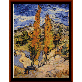 two poplars on a hill - van goghcross stitch pattern by cross stitch collectibles