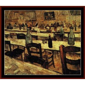 interior of restaurant in arles, 1888 - van gogh cross stitch pattern by cross stitch collectibles