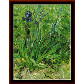 the iris, 1889 - van gogh cross stitch pattern by cross stitch collectibles