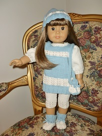 doll knitting pattern - v008 - aqua springtime