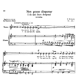 Non posso disperar, Low Voice in D Minor, G.M.Bononcini. Transposition for Low Voice. For Mezzo, Contralto, Baritone, Bass. Source: Anthology of Italian Song of the 17th and 18th centuries (Parisotti), Vol.2, Schirmer (1894). | eBooks | Sheet Music