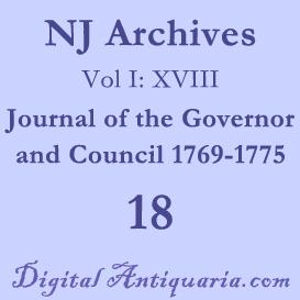 NJ Archives (I:XVIII) Journal of the Governor and Council 1769-1775 | eBooks | History