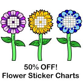 50% off flower sticker charts