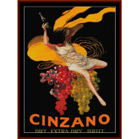 cinzano - vintage poster cross stitch pattern by cross stitch collectibles