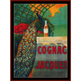 cognac jacquet - vintage poster cross stitch pattern by cross stitch collectibles