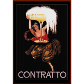 contratto - vintage poster cross stitch pattern by cross stitch collectibles