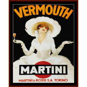 martini-rossi torino - vintage poster cross stitch pattern by cross stitch collectibles