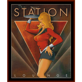 the station lounge - vintage poster cross stitch pattern by cross stitch collectibles
