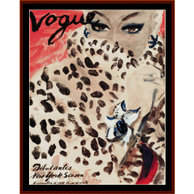 vogue cover, nov. 1939 - vintage poster cross stitch pattern by cross stitch collectibles