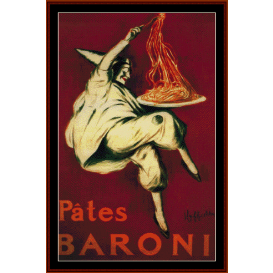 pates baroni - vintage poster cross stitch pattern by cross stitch collectibles