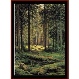 coniferous forest - sunny day - shishkin cross stitch pattern by cross stitch collectibles