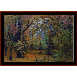 autumn forest, 1876 - shishkin cross stitch pattern by cross stitch collectibles