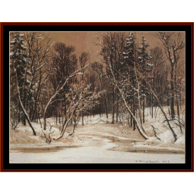 forest in winter - shishkin cross stitch pattern by cross stitch collectibles