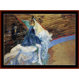 rider on white horse - lautrec cross stitch pattern by cross stitch collectibles
