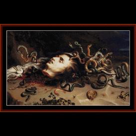 head of medusa - rubens cross stitch pattern by cross stitch collectibles