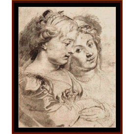two young women & a dog - rubens cross stitch pattern by cross stitch collectibles