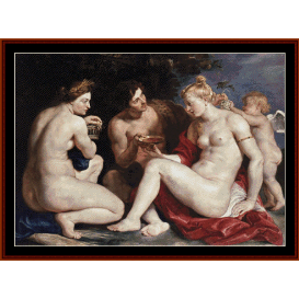venus, cupid, bacchus & ceres - rubens cross stitch pattern by cross stitch collectibles