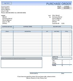 quick purchase orders with this excel template