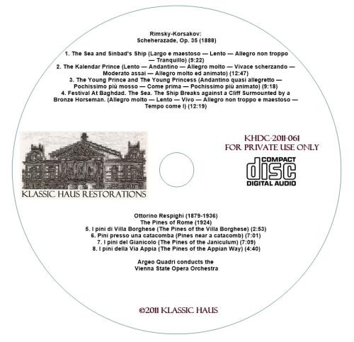 Second Additional product image for - Rimsky-Korsakov: Scheherazade, Op. 35; Respighi: Pines of Rome - Vienna State Opera Orchestra/Argeo Quadri