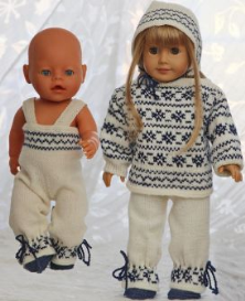 dollknittingpatterns - 0094d liselle - sweater, pants, shoes, cap, scarf and mittens