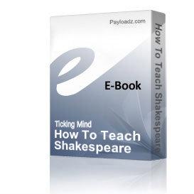 how to teach shakespeare