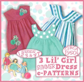 e-z darlin little girl summer dress vintage 50s e-pattern - 3 different yokes - 4 sizes 1-4 t download pdf