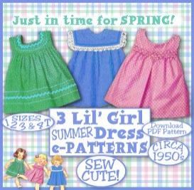 e-z darlin tot girl summer dress vintage 50s e-pattern b - 3 different yokes - 4 sizes 1-4 t spring summer download pdf