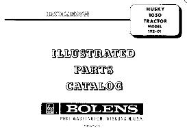 bolens husky 1050 tractor parts manual 192-01 192-02