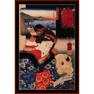 woman reading - asian art cross stitch pattern by cross stitch collectibles