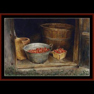 smokehouse strawberries - americana cross stitch pattern by cross stitch collectibles
