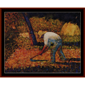 peasant with hoe - seurat cross stitch pattern by cross stitch collectibles